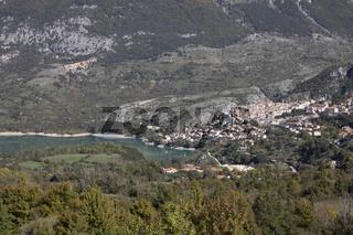 The village of Barrea and Barrea lake in Abruzzo region