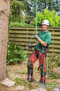 Dutch arborist with climbing equipment in garden