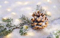 Christmas time with snow and magic lights