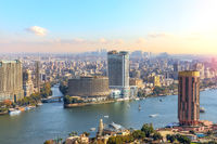 Fabulous skyscrappers on the Nile in the downtown of Cairo, Egypt