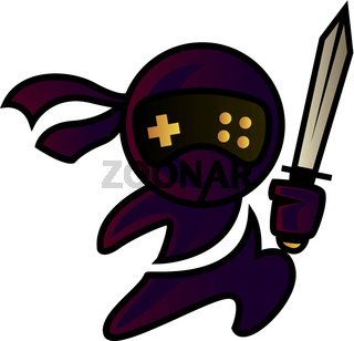 Ninja with sword, illustration, vector on white background.
