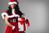 Woman in red Santa Claus outfit
