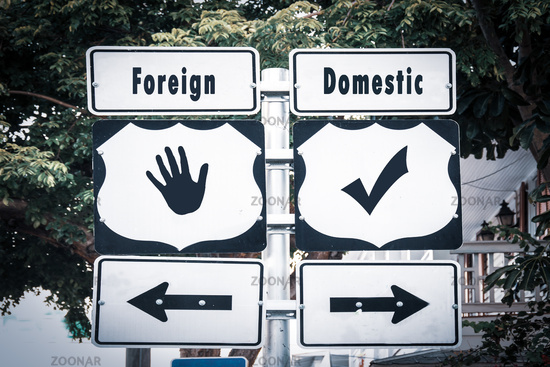Street Sign Domestic versus Foreign