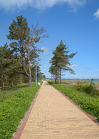 Footpath along the Beach of Juliusruh at baltic Sea,Ruegen,Mecklenburg western Pomerania,Germany