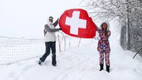 National flag of Switzerland waving in the wind