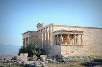 Temple of Erechtheum at sunset, Acropolis, Athens, Greece