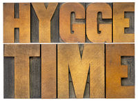 hygge time word abstract in wood type