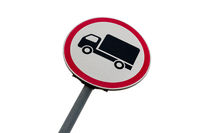 Road sign prohibiting the movement of trucks