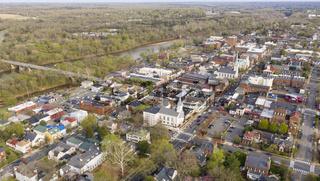 Beautiful Colorful Aerial Perspective Over Downtown Fredricksburg Virginia