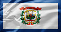 Waving state flag of West Virginia - United States of America