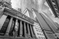 Exterior of New york Stock Exchange, Wall street, lower Manhattan, New York City, USA.