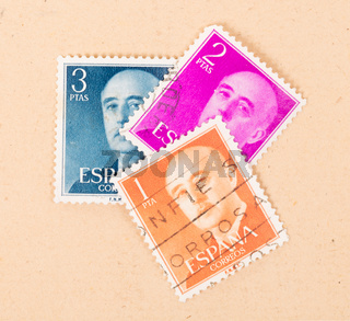 SPAIN - CIRCA 1970: A collection of stamps printed in Spain showing the President, circa 1970