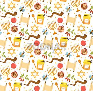 Seamless pattern, texture for the Jewish new year. Rosh Hashanah, Shana Tova background wallpaper. Vector illustration