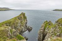 Coastal view toward the Knab in Lerwick, which is the main port on the Shetland Isles, Scotland.