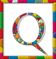 Letter Q in stained glass