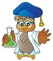 Owl teacher with chemical flask theme 1