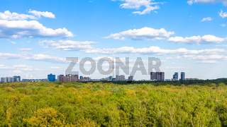 above view of green forest near city in summer