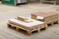 wooden boards and chipboards storing at factory