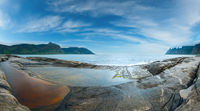 Summer Senja coast panorama (Jagged Ersfjord, Norway)