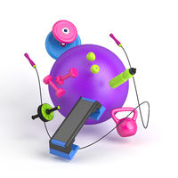 3d-illustration of the fitness equipment: fitball, weight, dumbbells, water bottle, jump rope, apples, step platform