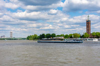 Barge at the river Rhine in Cologne