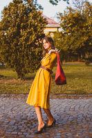 Stylish fashion girl walking in autumn time
