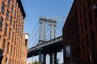 Manhattan Bridge in New York City. View from Dumbo.