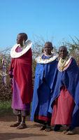 Olpopongi, Kilimnjaro Province / Tanzania: 29. December 2015: Tanzania Masai tribeswomen in traditional clothing in Olpopongi Cultural Village