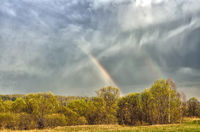 Colorful double Rainbow on cloudy sky over forest after spring rain