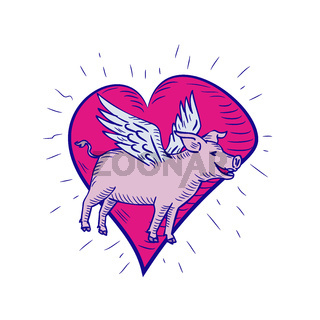Pig With Wings Flying Heart Doodle