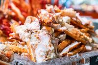 Alaskan King crab seafood on ice
