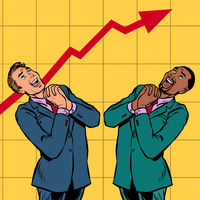 joyful Africa and Caucasian businessman growth chart