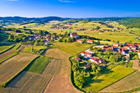 Village of Glogovnica and green nature aerial view