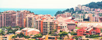 Panoramic view of Fontvieille architecture. Principality of Monaco