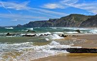 Breakers at the stormy Costa Vicentina coast, Vila do Bispo, Portugal
