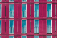 modern building facade - window pattern on hotel exterior,
