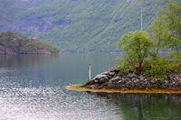 Fjord and mountains landscape
