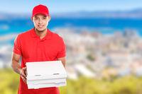 Pizza boy delivery service latin man order delivering job deliver box copyspace copy space