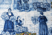 street scene, Azulejos, market hall, Funchal, Madeira, Portugal, Europe