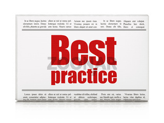 Learning concept: newspaper headline Best Practice