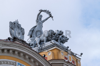 Sculptures on top of The National Theatre of Cluj-Napoca, Romania