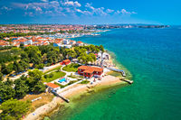 City of Zadar waterfront aerial summer view