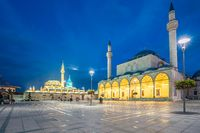 View of Selimiye Mosque and Mevlana Museum at night in Konya, Turkey