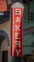 Old Neon Building Sign Says Bakery