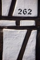 Half-timbered facade with house number