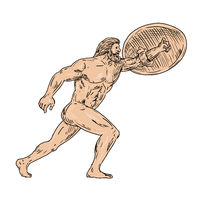Hercules With Shield Going Forward Drawing