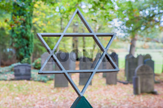 Jewish cemetery with star of David