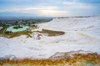 Panoramic view of travertine terraces at Pamukkale in Denizli, Turkey