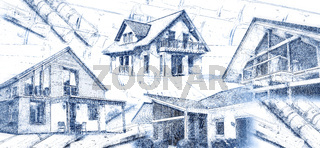 Moderne Häuser und Baupläne