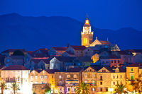 Town of Korcula panoramic evening view